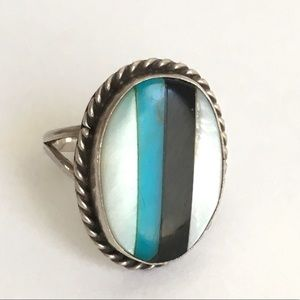 Vintage Native American Zuni Ring Turquoise Size 7